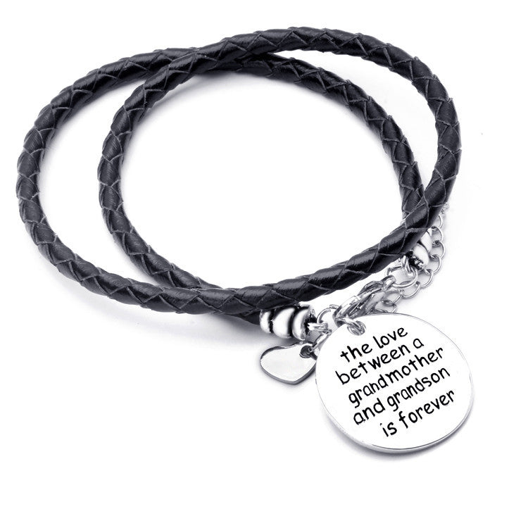 The Love Between A Grandmother and Grandson is Forever - HAND STAMPED BRACELET