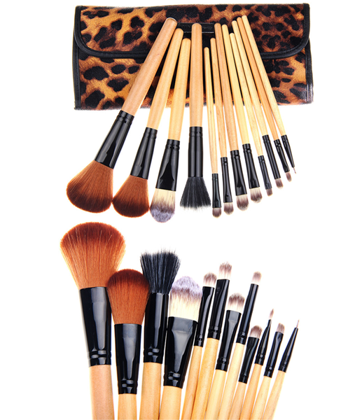 12 Piece Leopard Skin Brush Set ,  - MyBrushSet, My Make-Up Brush Set  - 1