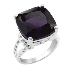 Silver Plated Cushion Cut 15mm Midnight Purple Cocktail Ring with Cable Split Shank