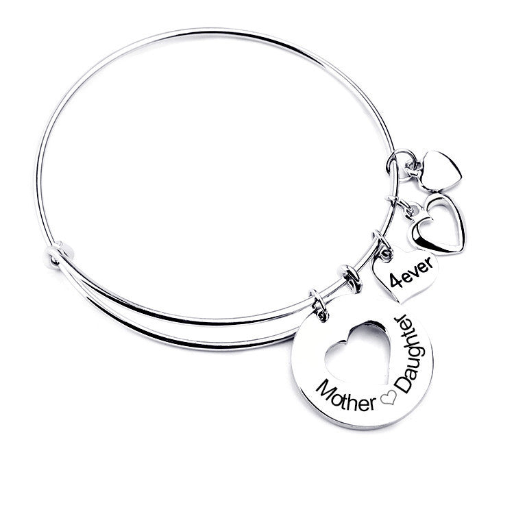 Mother Daughter Love Charm Bangle