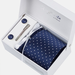Premium Accessories Gift Box with Tie, Cuff Links, Hankie & Tie Clip
