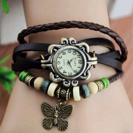 Butterfly Boho-Chic Vintage-Inspired Handmade Watch - Assorted Colors