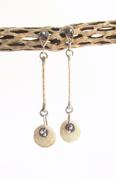 Long Dangle Geometric Beach Stone Post Stud Earrings - Sterling Silver
