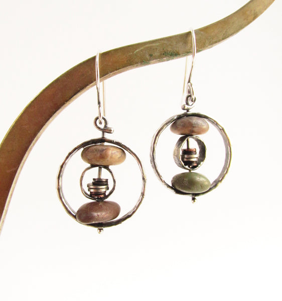 Double Riveted Hammered Hoops - Sterling Silver and Copper Beach Stone Earrings