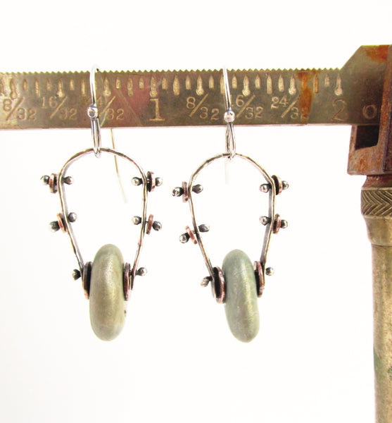 Riveted Hoops - Sterling Silver and Copper Beach Stone Earrings