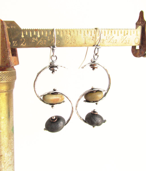 Double Crescents - Sterling Silver and Copper Beach Stone Earrings