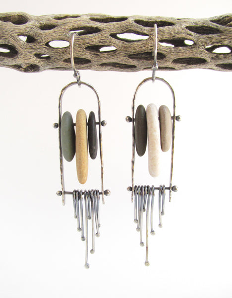 Dangle Fringe Sterling Silver Beach Stone Earrings - Kinetic and Riveted