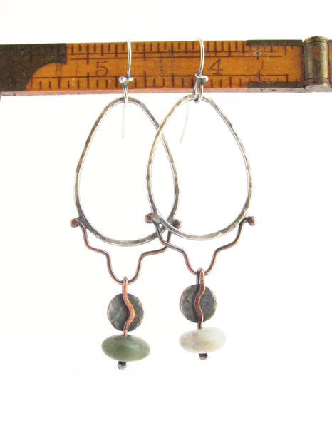 Tear Drop - Mixed Metal - Sterling Silver and Copper - Hoop - Beach Stone Earrings