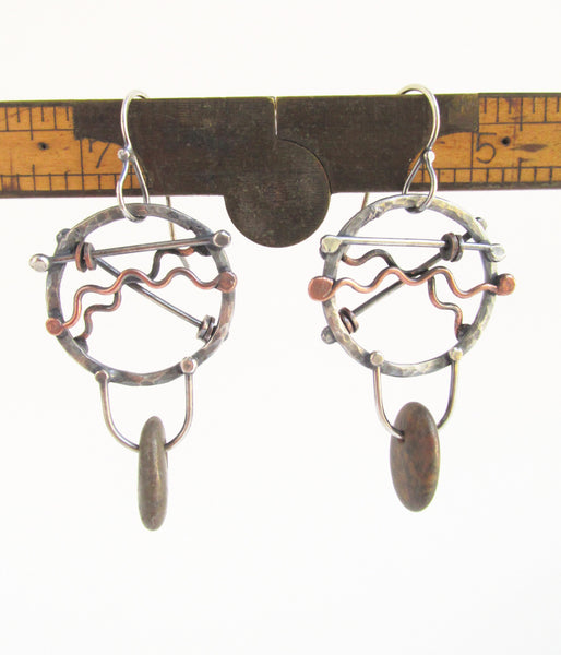 Cross Roads - Sterling Silver and Copper - Beach Stone Hoop Earrings