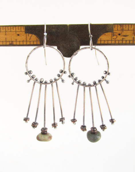 Tension Wheels - Sterling Silver and Copper Beach Stone Hoop Earrings