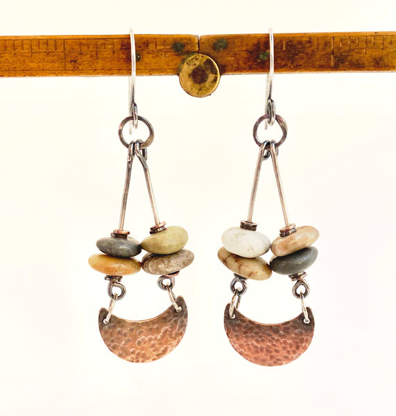 Crescent Swing - Copper and Sterling Silver Beach Stone Earrings
