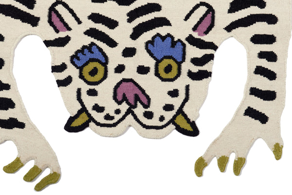 White Tiger Thrills Rug Cutout