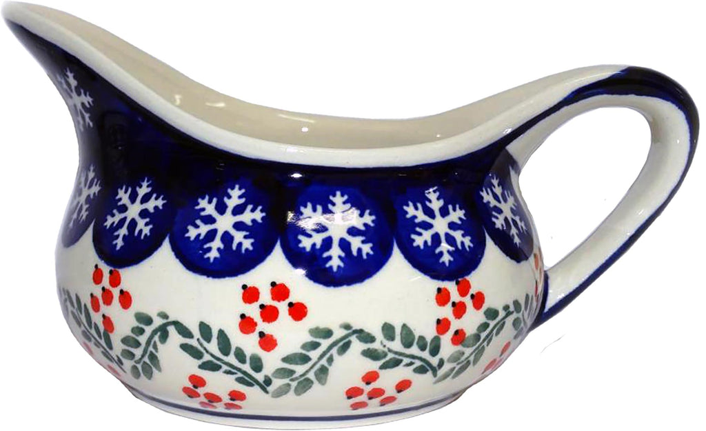 "Boleslawiec Polish Pottery Christmas Gravy Boat ""Red Berries"""