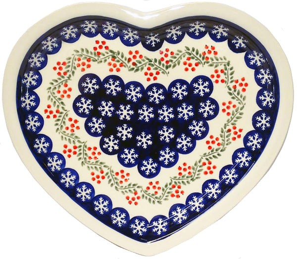 "Boleslawiec Polish Pottery Christmas Heart Shape Serving Plate ""Red Berries"""