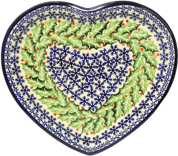 "Boleslawiec Polish Pottery Christmas Heart Shape Serving Plate ""Holly"""