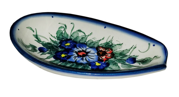"Boleslawiec Polish Pottery UNIKAT Spoon Rest ""Wild Field"""
