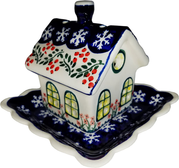 "Boleslawiec Polish Pottery Little House Tealight Holder ""Red Berries"""