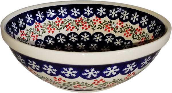 "Boleslawiec Polish Pottery UNIKAT Large Serving or Mixing Bowl ""Red Berries"""