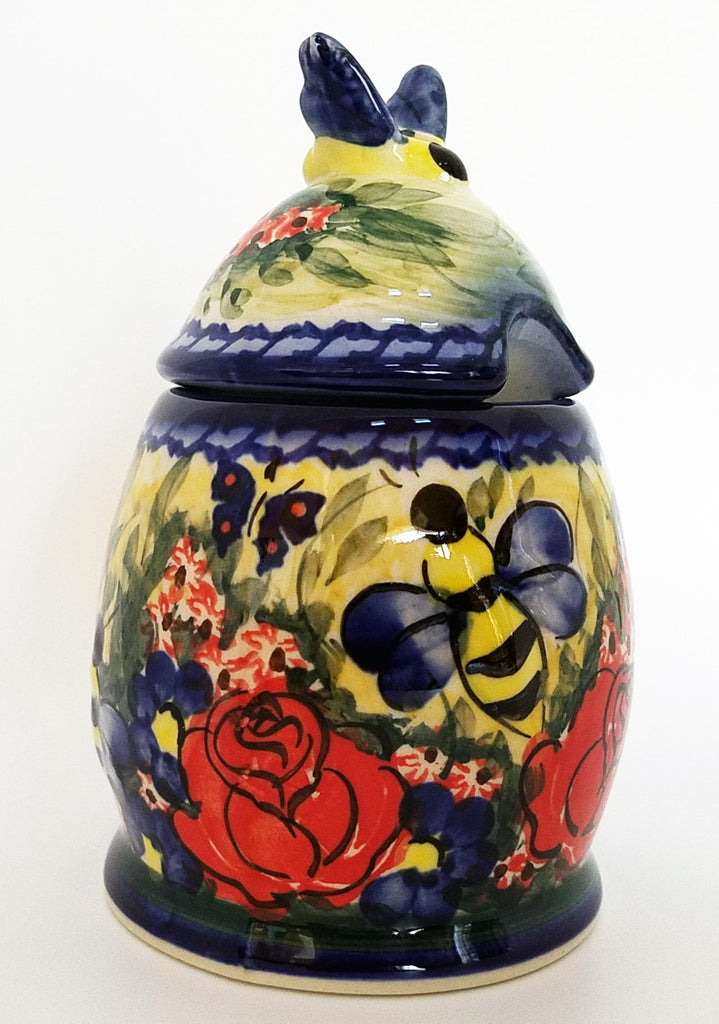 "Boleslawiec Polish Pottery UNIKAT Honey Pot or Jam Jar ""Wild Roses"""