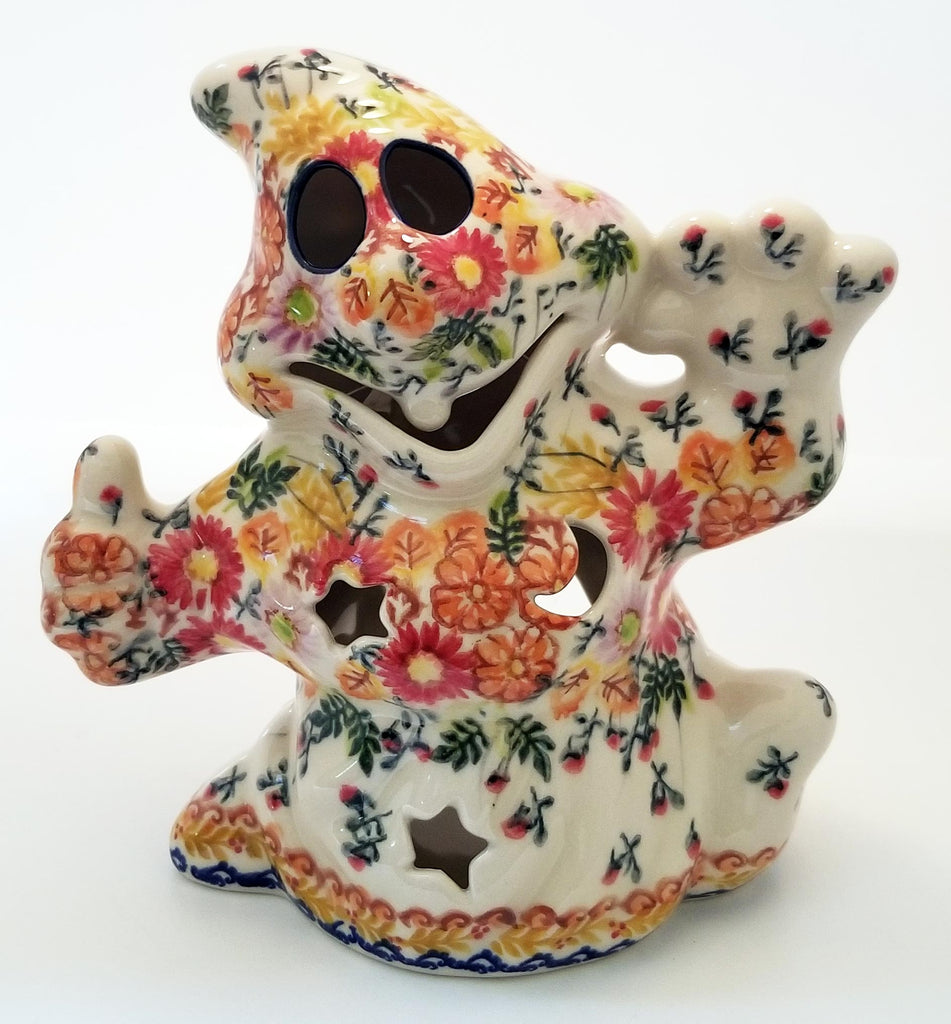 Boleslawiec Polish Pottery Halloween Ghost Statuette with Fall leaves