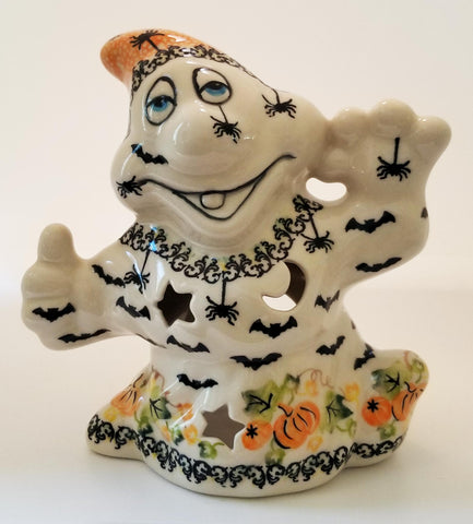 Boleslawiec Polish Pottery Halloween Ghost Statuette with Bats and Spiders