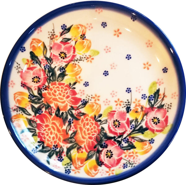 "Boleslawiec Polish Pottery 7"" Salad / Dessert Plate Unikat ""Garden Romance"" by Eva's Collection"