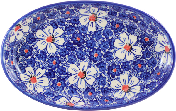 "Boleslawiec Polish Pottery UNIKAT Serving Platter ""Haylee Daisy"" from Eva's Collection"