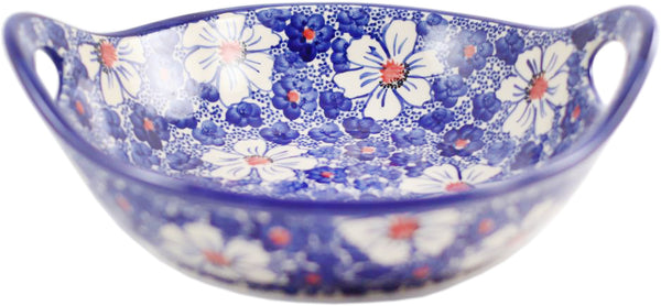 "Boleslawiec Polish Pottery UNIKAT Large Serving Bowl with Handles ""Haylee Daisy"""