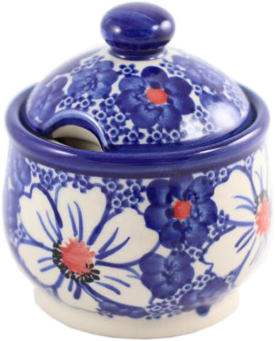 "Boleslawiec Polish Pottery UNIKAT Sugar Bowl Honey Pot ""Haylee Daisy"" from Eva's Collection"