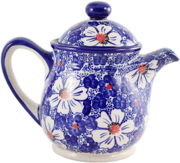 "Boleslawiec Polish Pottery UNIKAT 42 oz Teapot Coffee Pot ""Haylee Daisy"""