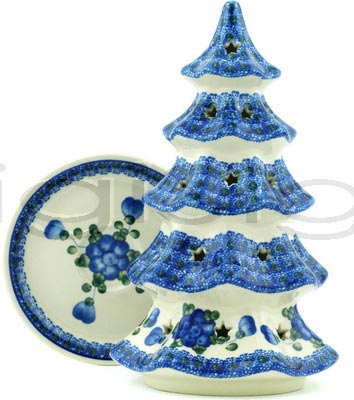 Boleslawiec Polish Pottery Large Christmas Tree Candle Holder