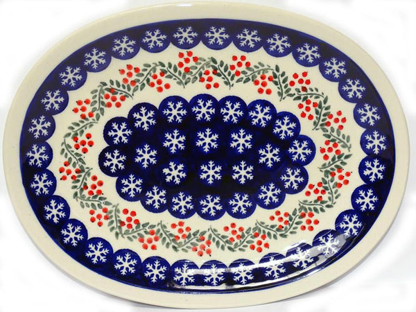 "Boleslawiec Polish Pottery Christmas Serving Platter ""Red Berries"""