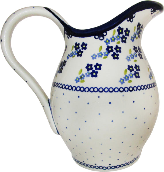 "Boleslawiec Polish Pottery UNIKAT Pitcher Water Jug 1.7L ""Forget Me Not"""