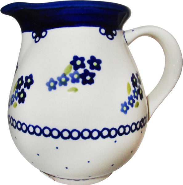 "Boleslawiec Polish Pottery UNIKAT Medium Pitcher Water Jug ""Forget Me Not"""