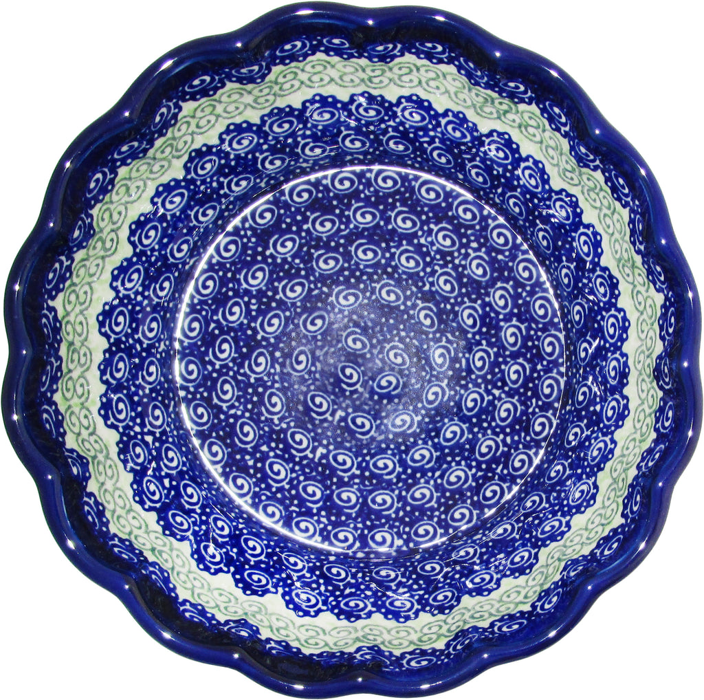 "Boleslawiec Polish Pottery UNIKAT Medium Scalloped Serving Bowl ""Alex"""