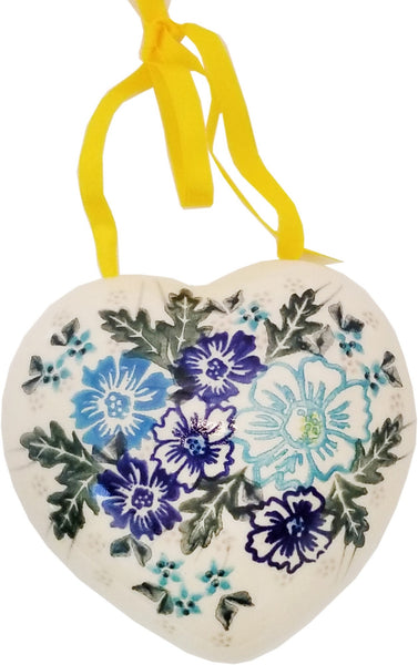 "Boleslawiec Polish Pottery UNIKAT Christmas Heart Ornament ""April"""