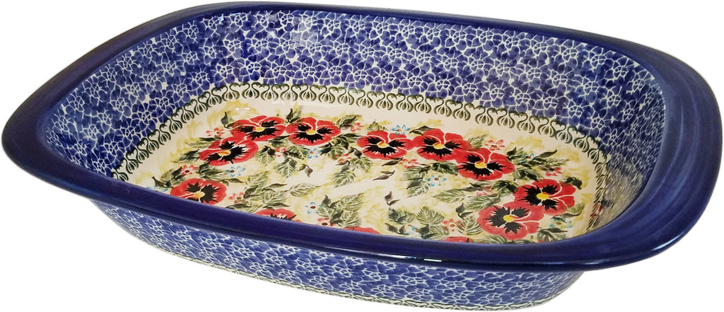 "Boleslawiec Polish Pottery UNIKAT Medium Rectangular Baker ""Summer Day"""