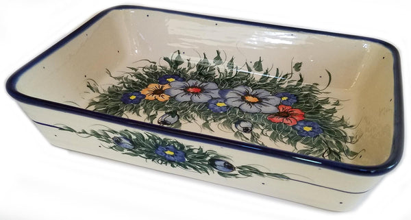 "Boleslawiec Polish Pottery UNIKAT Medium Rectangular Lasagna Baker ""Wild Field"""