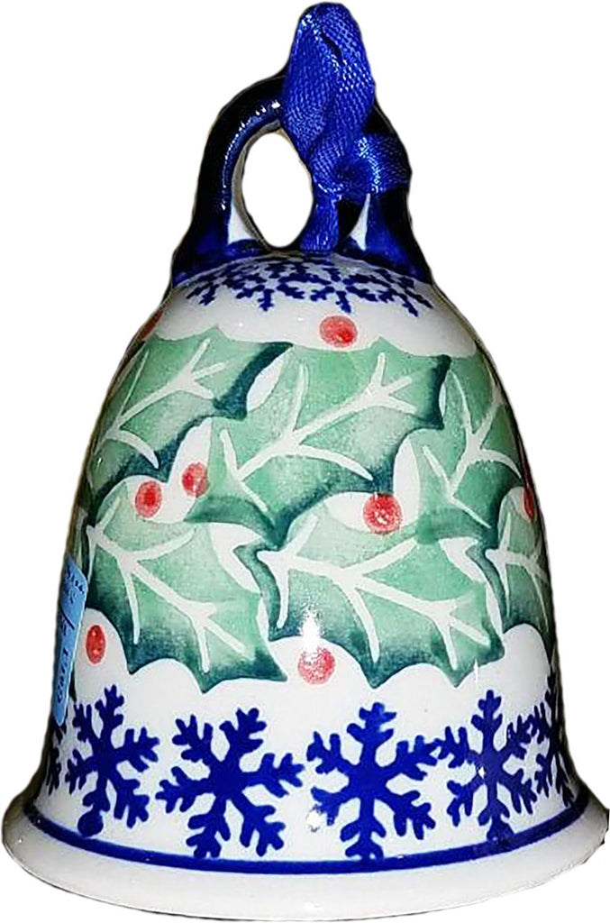 "Boleslawiec Polish Pottery 3"" Christmas Bell Ornament ""Holly"""