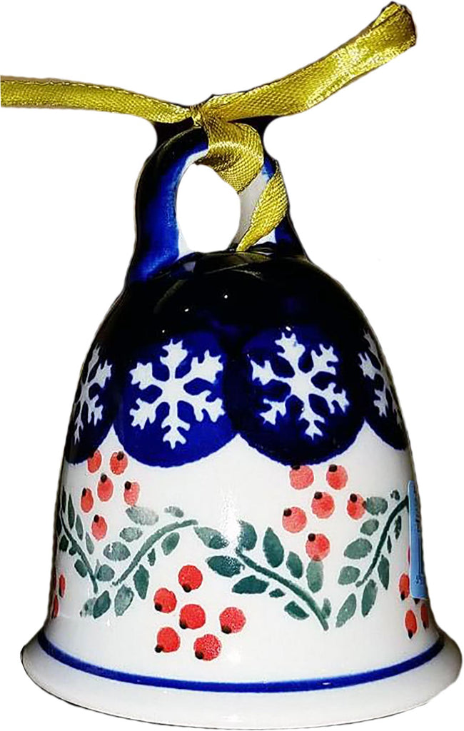 "Boleslawiec Polish Pottery 3"" Christmas Bell Ornament ""HRed Berries"""