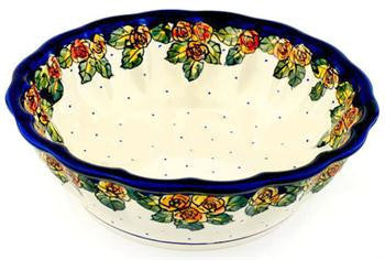 Polish Pottery Medium Scalloped Serving BowlDU83