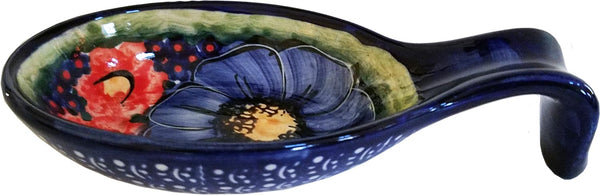 "Boleslawiec Polish Pottery UNIKAT Large Spoon Rest ""Isabelle"""