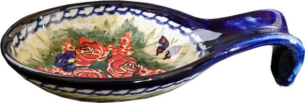 "Boleslawiec Polish Pottery UNIKAT Large Spoon Rest ""Wild Roses"""