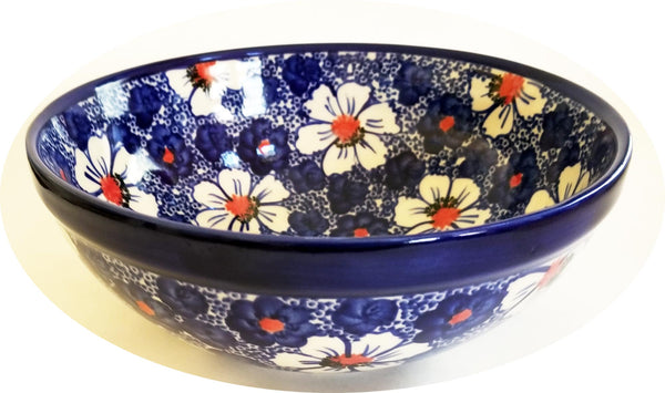 "Boleslawiec Polish Pottery Large Mixing or Serving Bowl Unikat ""Haylee Daisy"" by Eva's Collection"