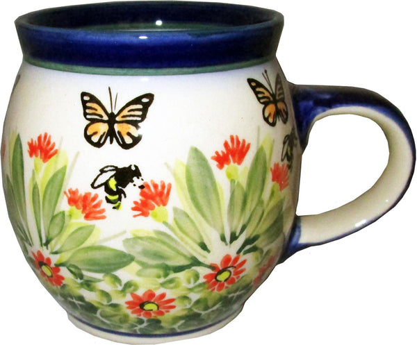 "Boleslawiec Polish Pottery UNIKAT Coffe or Tea Bubble Mug 16 Oz ""Spring"""