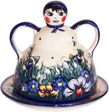 "Boleslawiec Polish Pottery UNIKAT Cheese Lady Butter Dish Garlic Baker ""Wild Field"""