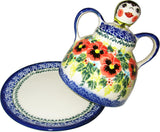 "Boleslawiec Polish Pottery UNIKAT Cheese Lady Butter Dish ""Summer Day"""