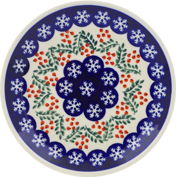 "Boleslawiec Polish Pottery Christmas Breakfast, Salad or Dessert Plate ""Red Berries"""