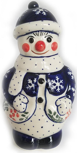 "Boleslawiec Polish Pottery Christmas Decoration Snowman ""Red Berries"""