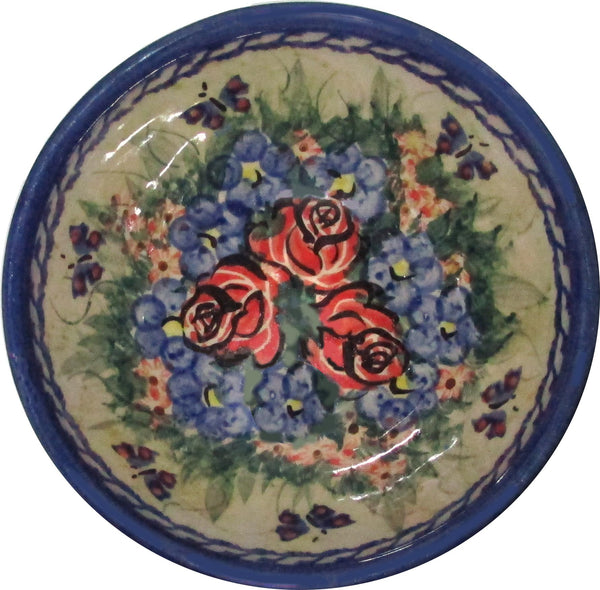 "Boleslawiec Polish Pottery UNIKAT Ice Cream or Condiment Bowl ""Wild Roses"""